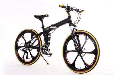 Gracelove Mountain bike 24 3x8 speed double damping double disc brake folding bike 26 inch Suspension Man Bicycle 26