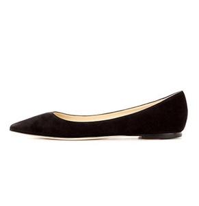 Eldof Women's Pointed Toe Ballerinas Slip On Flat Heel Ballet Shoes BlackSuede US6