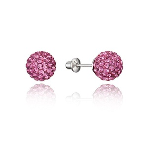 925 Sterling Silver Rhodium Plated Pink 6mm Crystal Ball Stud Children Screwback Baby Girls Earrings