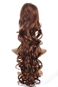 Hair By MissTresses Curly Wavy Ponytail Hairpiece By 'Excelength' in Caramel Mid Brown 23-inch by Hair By MissTresses