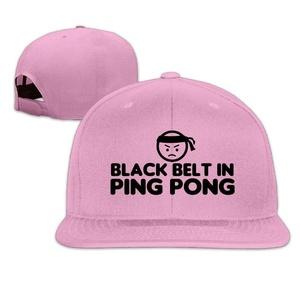 Flat-along Adjustable Black Belt In Ping Pong Caps Hat World