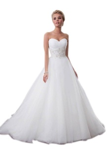 Aurora Bridal® Womens Sweetheart Wedding Dress Tulle Bride Gown Ivory, 10