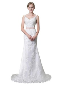 JoyVany Open Back Mermaid Wedding Gown with Cap Sleeve Lace Wedding Dress