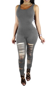 Womens Sexy Knee Hole Sleeveless Bodycon Party Clubwear Leggings Jumpsuit Romper Grey S