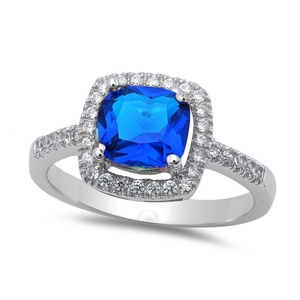 Vintage Halo Accent Wedding Engagement Ring Princess Cut Simulated Sapphire Round CZ 925 Sterling Silver