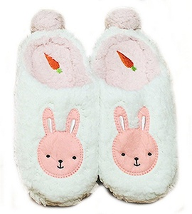 Women's Bunny Slippers Non-skid Plush Closed Toe Sweet Cute Slippers Bedroom Slippers - Pink / White