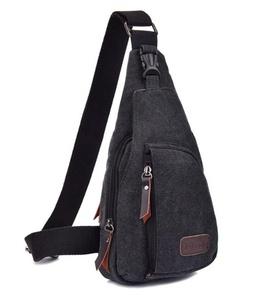 Outdoor Sports Men's Chest Pack Crossbody Bag Vintage Canvas Shoulder Sling Bag Rucksack (Black)