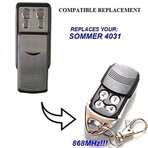 SOMMER 4031 compatible remote control replacement transmitter, 868.8Mhz rolling code key fob. (NOT MADE BY Sommer)