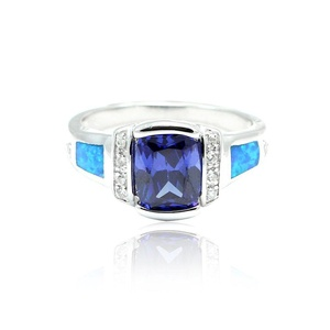 Fashion Ring Emerald Cut Simulated Blue Sapphire Lab Created Blue Opal Round CZ 925 Sterling Silver