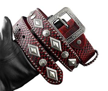 Red Rock Biker Hip Hop Genuine Leather Metal Pin Buckle Men Belt