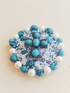 Wine Glass Topper Pearl & Turquoise Cross (Style 1)