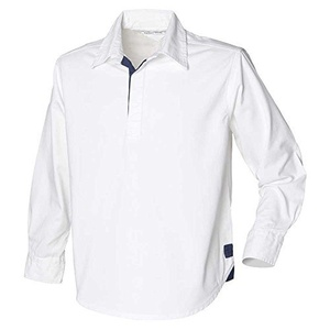 Front Row Mens Long Sleeve plain drill Cotton Rugby shirt Navy,White by Front Row