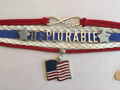 DEPLORABLE TRUMP For President Handmade Infinity Love Bracelet - Red White and Blue - Wrap Bracelet - Make America Great Again