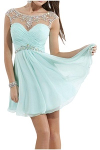 Avril Dress Gorgeous Sweetheart Chiffon Cocktail Homecoming Mini Party Dress New-16W-Light Blue