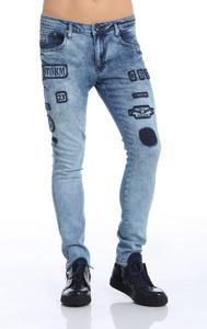 Ron Tomson Patch Embellished Skinny Jeans - Blue