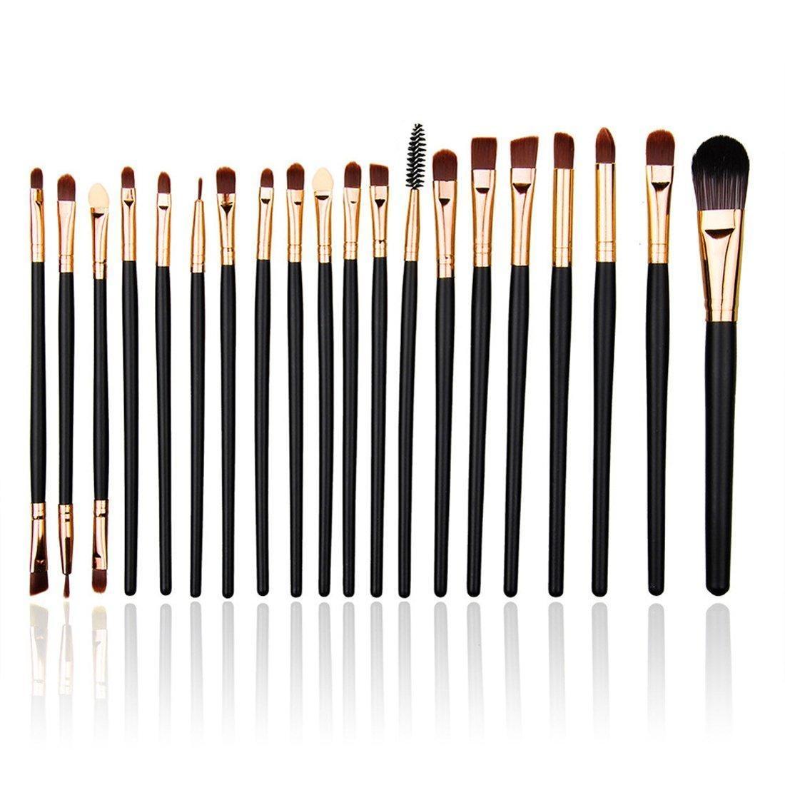 YOY Fashion Makeup Brush Set - Professional Kabuki Brushes Kit Foundation Blending Blush Contour Concealer Eyeliner Face Powder Cosmetics Beauty Tools,20 Pcs Black Rose-gold