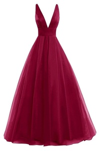 JAEDEN Deep V Neck Tulle Evening Party Dresses Long Prom Gown Open Back Burgundy US20W
