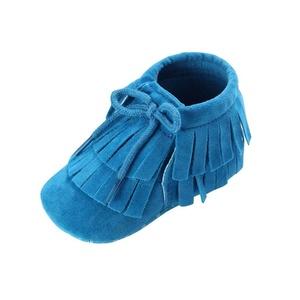 Efaster Toddler Infant Newborn Baby Girls Boys Tassel Soft Sole Prewalker Shoes (0~6 Month, Blue)