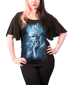 Spiral T Shirt Ice Queen Womens Goth Boat Neck Bat Sleeve Top Black