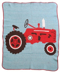 Green 3 Throw Blanket, Tractor by Green 3