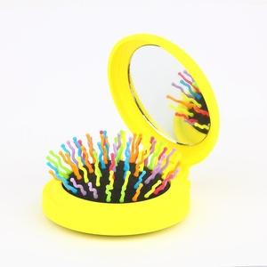 Candy Brush Mini Folding Detanging Hair Brush with Mirror Travel Compact Packet Hairbrush, (Yellow)