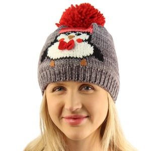 Christmas Double Soft Thick Knit Cute Penguin Pom Pom Cap Beanie Hat Gray S/M