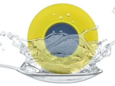 ZTE Tempo Yellow Waterproof Portable Bluetooth Speaker with Suction Cup for Music Playing and Speaker Phone for Shower, Pool, Boating and Outdoors