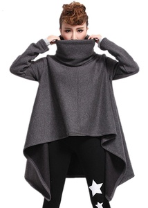 Season Show Women's Turtleneck Irregular Hem Poncho Cape Coat Pullerover sweatshirt
