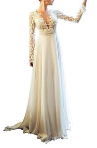 Meledy Women's V-Neck Lace Appliques Long Sleeves Backless Chiffon Bridal Wedding Dress Ivory US06