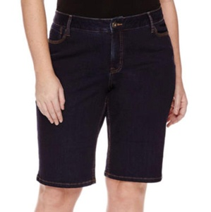 St. John's Bay Denim Bermuda Shorts - Plus