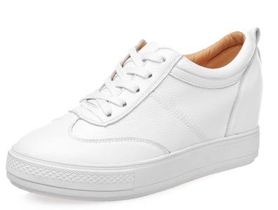 D2C Beauty Women's Platform Lace Up Hidden Heel Sneaker Bootie Shoes - White 8 M US
