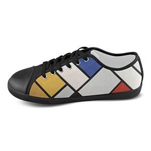 Thelma Lattice Mondrian Women's Custom Casual Canvas Shoes Sneakers,Black B