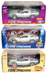 Collect All 3! Back to The Future 1-2-3, DeLorean Time Machine. by Welly: 1/24 Scale