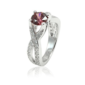 Solitaire Dazzling Infinity Wedding Ring Round Pink Simulated Tourmaline Round CZ 925 Sterling Silver