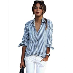 Women Striped T Shirt, Misaky Long Sleeve Loose Blouse Casual Tops (M, Blue)