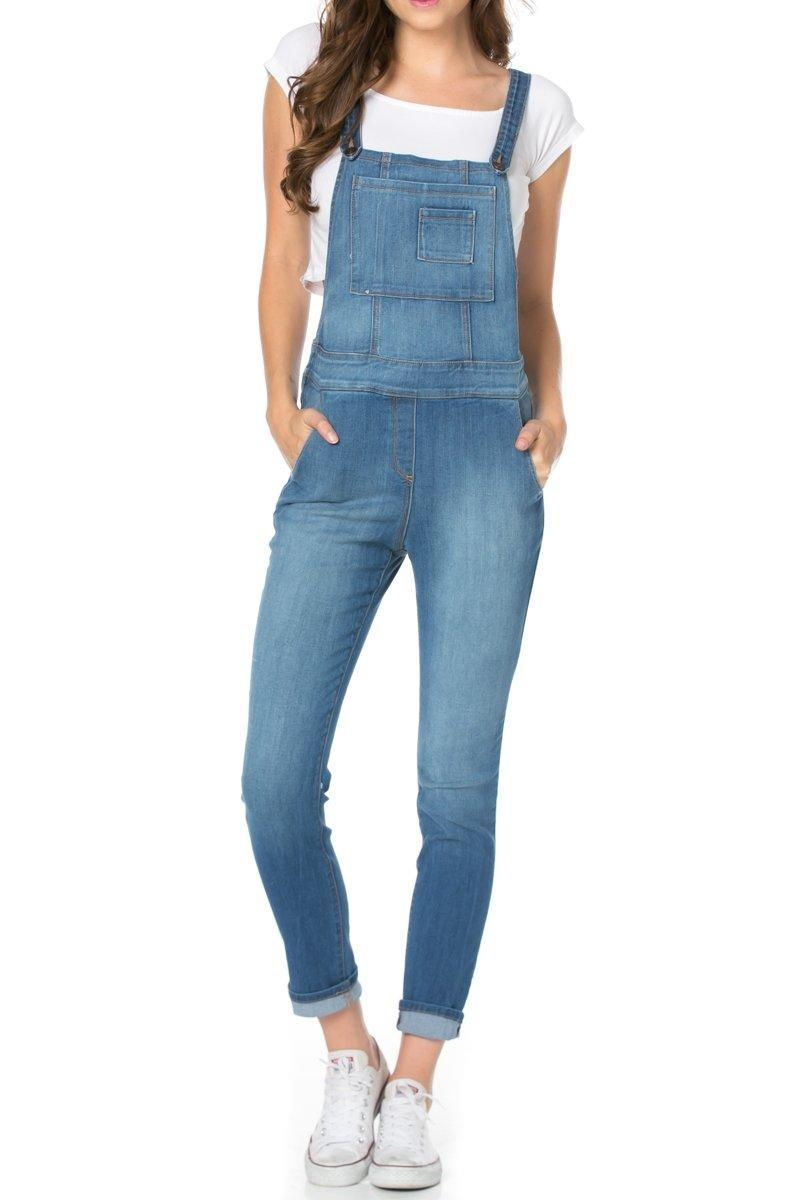 O2Denim Women's Relaxed Fit Adjustable Suspender Denim Bib Overalls