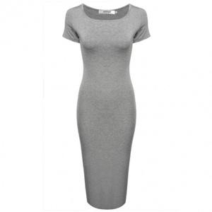 LI'L BLACK DRESS Women O-Neck Short Sleeve Solid Slim Fit Bodycon Midi Dress (large, grey)