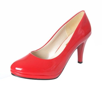 T&Grade Women Fashion Low Top Slip On Closed Toe Platform Heeled Dress Party Wedding Shoes(8 B(M) US, red)