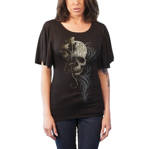 Spiral T Shirt Dark Angel Womens Goth Boat Neck Bat Sleeve Top Black