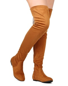 Nature Breeze FF44 Women Faux Suede Thigh High Back Drawstring Flat Boot - Camel (Size: 9.0)