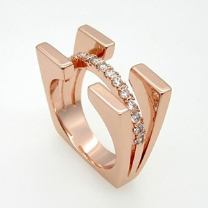Dudee Jewelry Fashion Jewelry Square Double Luxury Brand Crystal Ring Rose Gold Plated With Cubic Zircon Ring