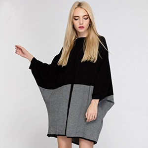 OF SWEATER Women Fashion Fall Fashion Fall Soft Stripped Round Wool Knitted Black Medium Long Batwing Pullover Sweaters R9I6P