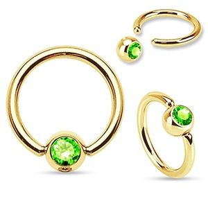 Gold Plated Over 316L Surgical Steel WildKlass Ring with Press Fit Gem Set WildKlass Ball (Sold by Piece)
