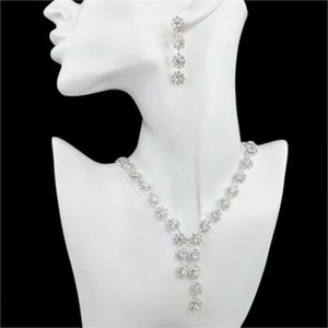Silver Jewelry Set for Bridal Rhinestone Flower Drop Earrings Necklace