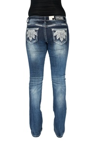 Grace In LA Jeans Women's Plume Plush Blue Feather Boot Cut Dark Wash JB7271 (31)