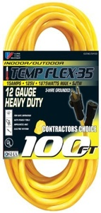 US Wire 59100 12/3 100-Foot SJTW Yellow Heavy Duty Extension Cord by US Wire and Cable