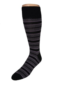 Men's Big & Tall Fashion Black Stripe Dress Crew Socks - 2pr. Pack - Made in USA