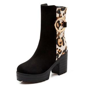 Fashion Heel Women's Chunky Heel Round Toe Leopard Print Platform Boot (7.5, white)