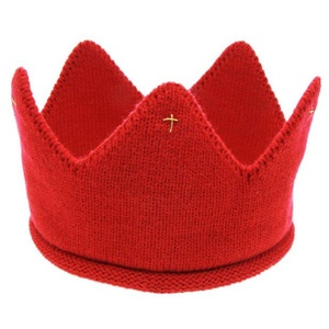 Tiean New Cute Baby Boys Girls Crown Knit Headband Hat (Red)