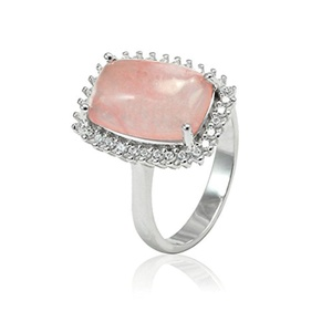 Halo Cocktail Wedding Engagement Ring Cushion Cut Simulated Pink Quartz Round CZ 925 Sterling Silver